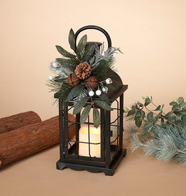 Fleurish Home Metal Holiday Caged Lantern w/ LED Candle