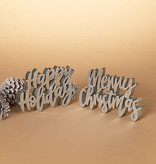 """Fleurish Home *last chance* Metallic Silver Colored Holiday Sign (choice of 2 sayings)24""""H"""