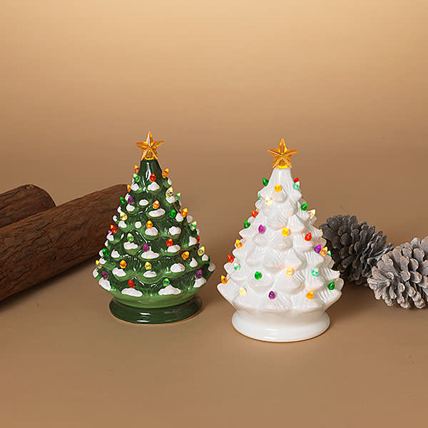 "Fleurish Home Old Fashioned Ceramic Christmas Tree w Colored Lights (Musical) 8""H B/O (choice of green or white)"