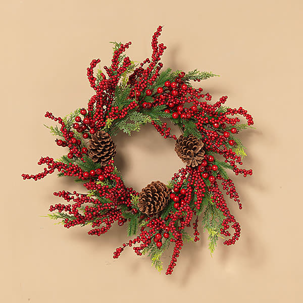 "Fleurish Home Holiday Pine, Red Berry & Pinecone Wreath 26""D"