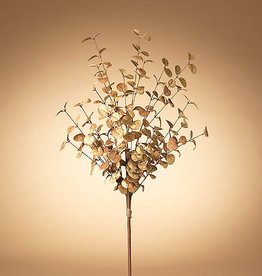 "Fleurish Home Metallic Gold Painted Holiday Eucalyptus Leaf Stem 36""H"