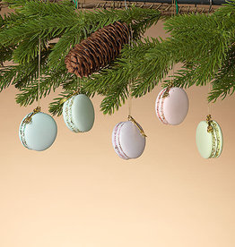 "Fleurish Home *last chance* Set of 5 Macaron Ornaments in Decorative Box ( each approx1.9""H)"