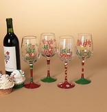 "Fleurish Home Holiday Wine Glass (choice of 4 designs) 8.9""H"
