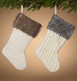 "Fleurish Home Off-White Knit Fabric Stocking w/ Fur Cuff (choice of 2 styles) 21""L"