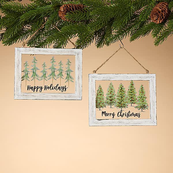 Fleurish Home Mini Window Ornament w Holiday Painting (choice of 2 styles)