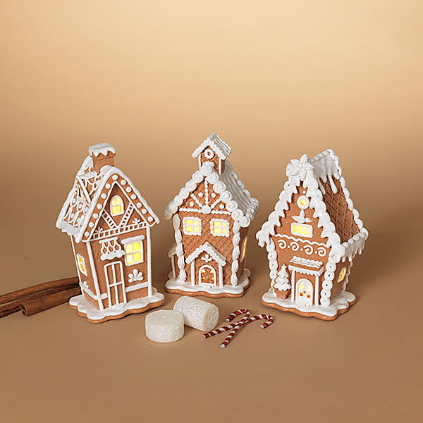 """Fleurish Home Lighted Simply White Holiday Gingerbread House 7""""H B/O"""