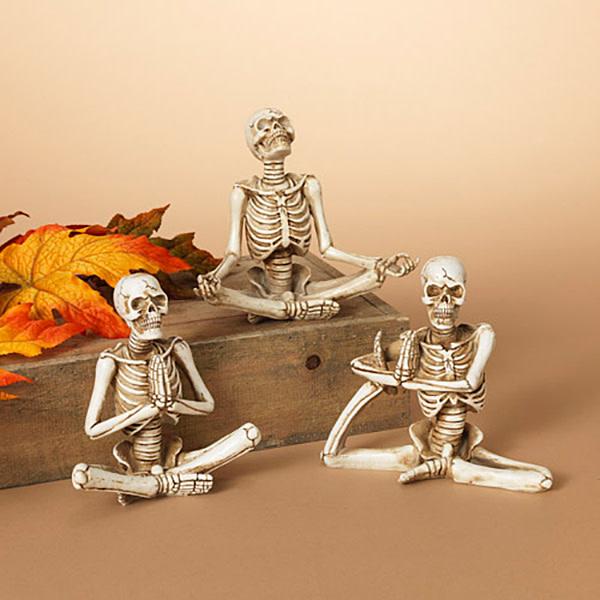 "Fleurish Home Lg Yoga Skeleton Figurine 6"" (choice of 3 styles)"