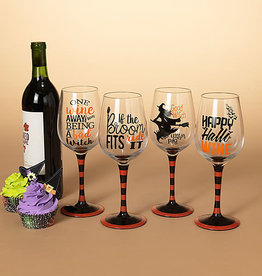 "Fleurish Home Halloween Wine Glass (choice of 4 styles) 8.9""H"
