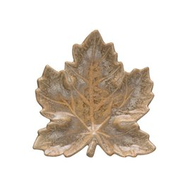 Fleurish Home Brown Reactive Glaze Leaf Dish (Each One Will Vary)