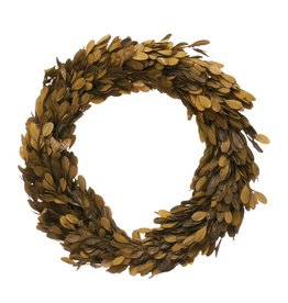 Fleurish Home Large Preserved Brown Boxwood Wreath