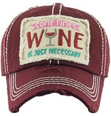Fleurish Home Sometimes Wine is Just Necessary Burgundy Hat
