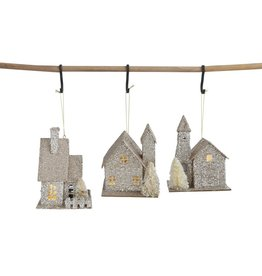 Fleurish Home *last chance* Paper House Ornament w LED Light (Choice of 3 Styles)