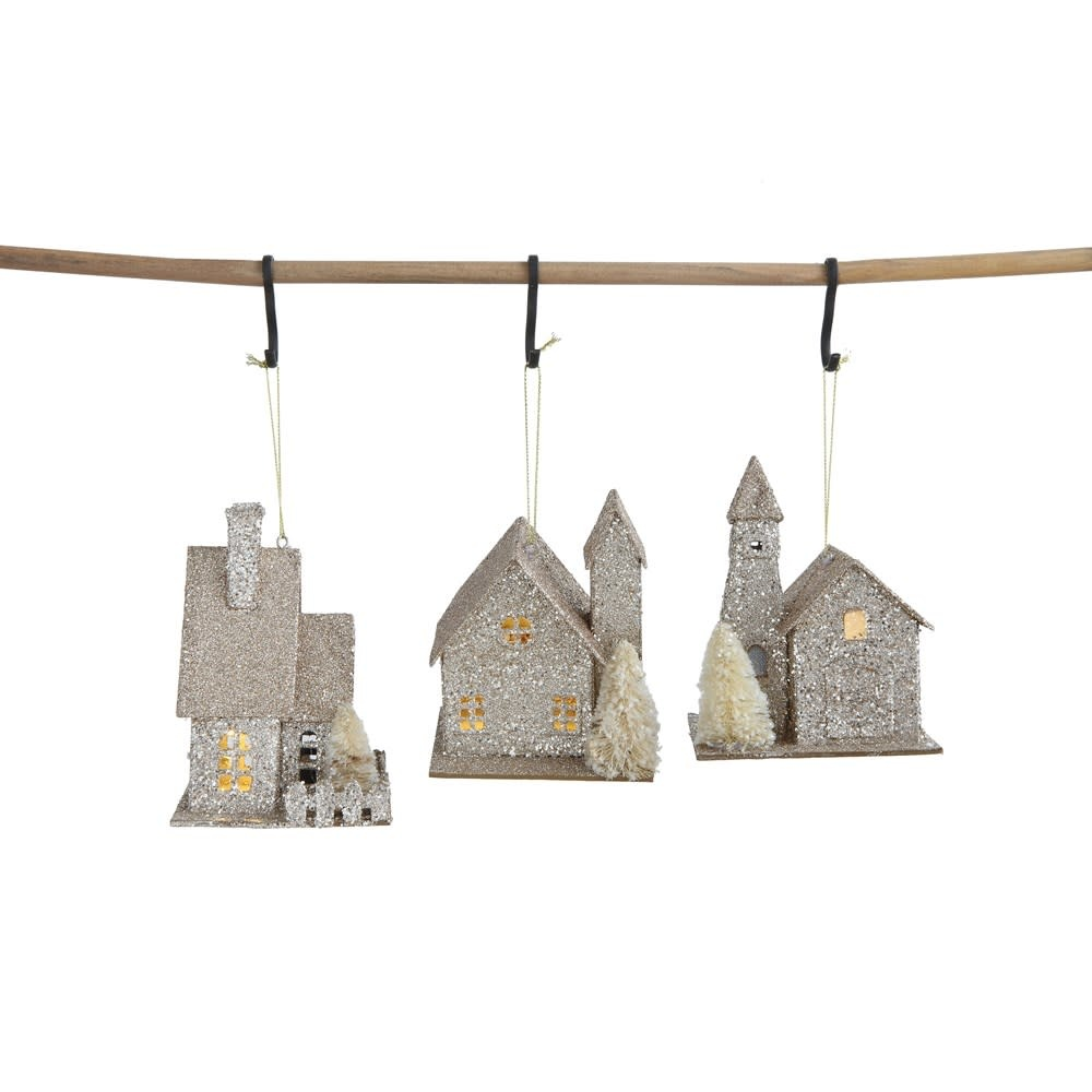 Fleurish Home Paper House Ornament w LED Light (Choice of 3 Styles)