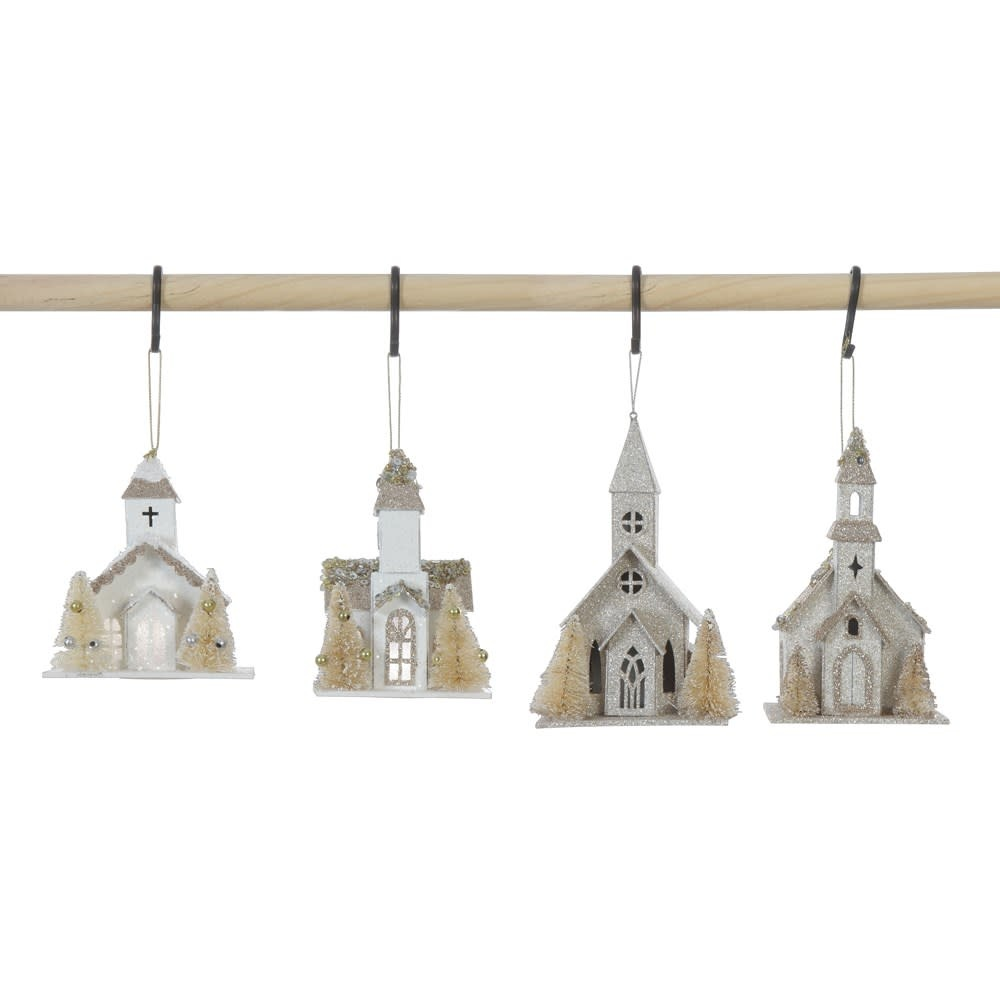 Fleurish Home Paper Church Ornament w/ Faux Trees & LED Light (Choice of 4 Styles)