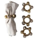 Fleurish Home Jingle Bell Napkin Rings-Silver & Gold, Set of 4