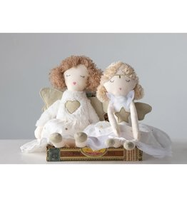 Fleurish Home *last chance* Plush Angel, White Dress w/ Gold Color Wings (Choice of 2 Styles)