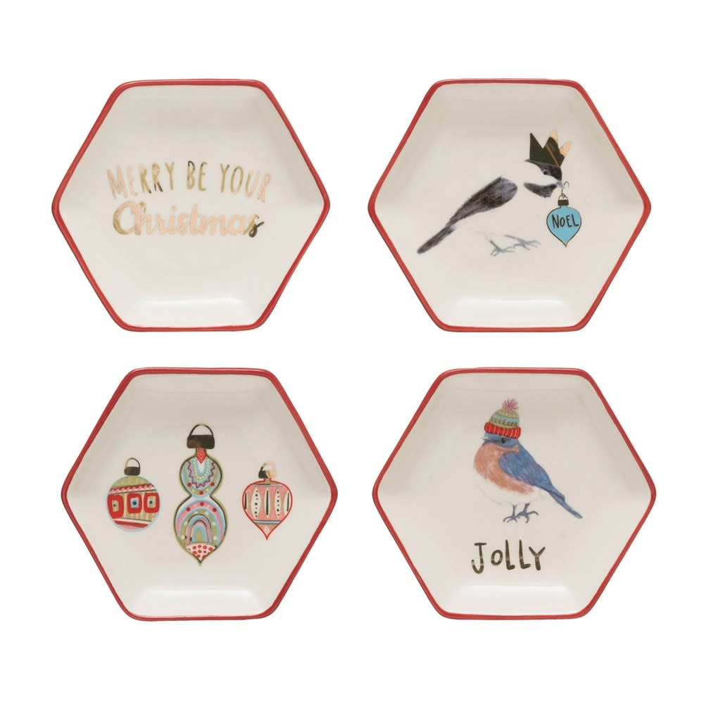 Fleurish Home *last chance* Hexagon Dish w/ Holiday Image (Choice of 4 Styles)