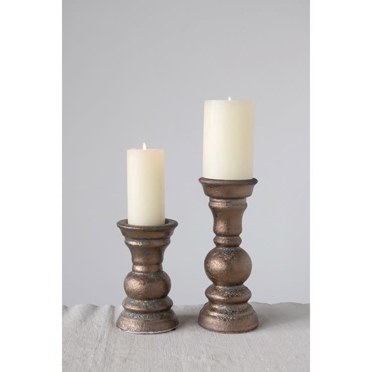 "Fleurish Home Large Bronze Finsih Terra-cotta Candle Holder (Holds 4"" Pillar)"