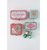 Fleurish Home *last chance* Sm Vintage Style Metal Cmas Box (green joy one)