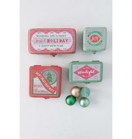 Fleurish Home *last chance* Med Vintage Style Metal Cmas Box (green wonderful)