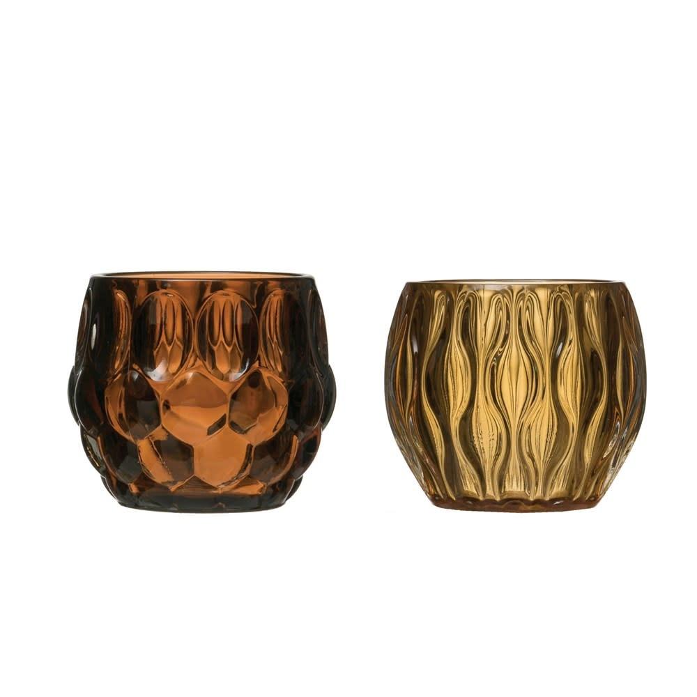 Fleurish Home Glass Tealight Holder (Choice of 2 Colors)