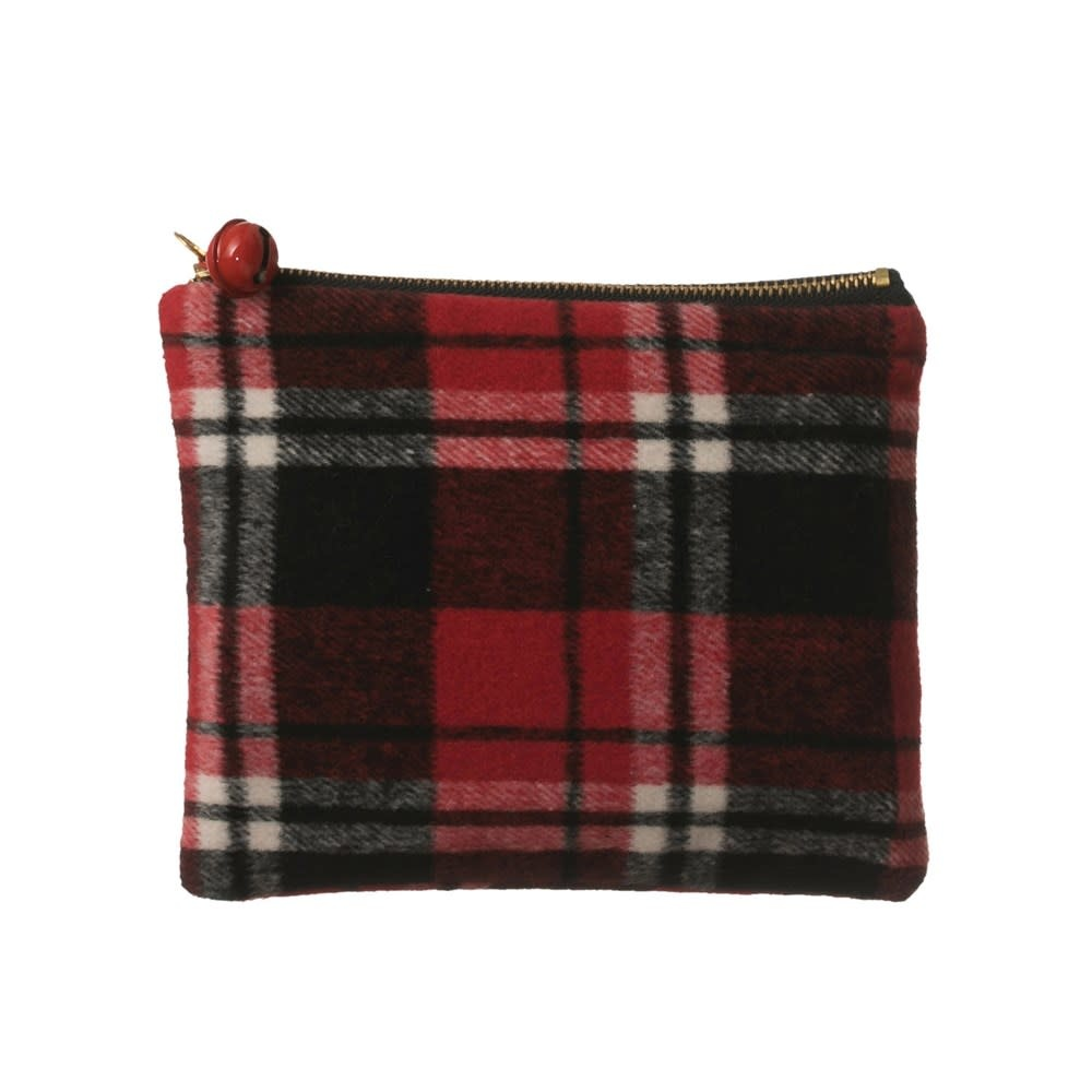 Fleurish Home Large Red & Black Plaid Zip Pouch w/ Red Jingle Bell Pull
