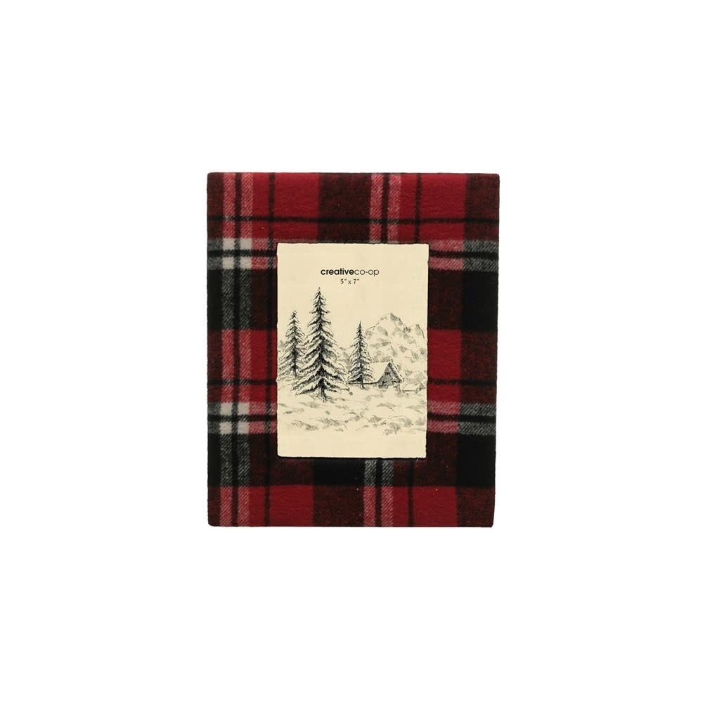 Fleurish Home Red & Black Fabric Plaid Photo Frame 5x7