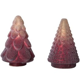 Fleurish Home *last chance* Cream & Raspberry Color Ombre Frosted Glass Tree (Choice of 2 Styles)