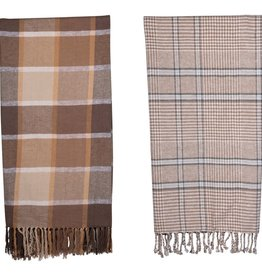 Fleurish Home Brown Plaid Brushed Cotton Throw w/ Fringe (Choice of 2 Styles)