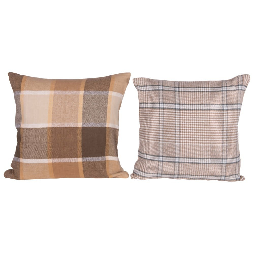 Fleurish Home Brown Plaid Brushed Cotton Pillow (Choice of 2 Styles)