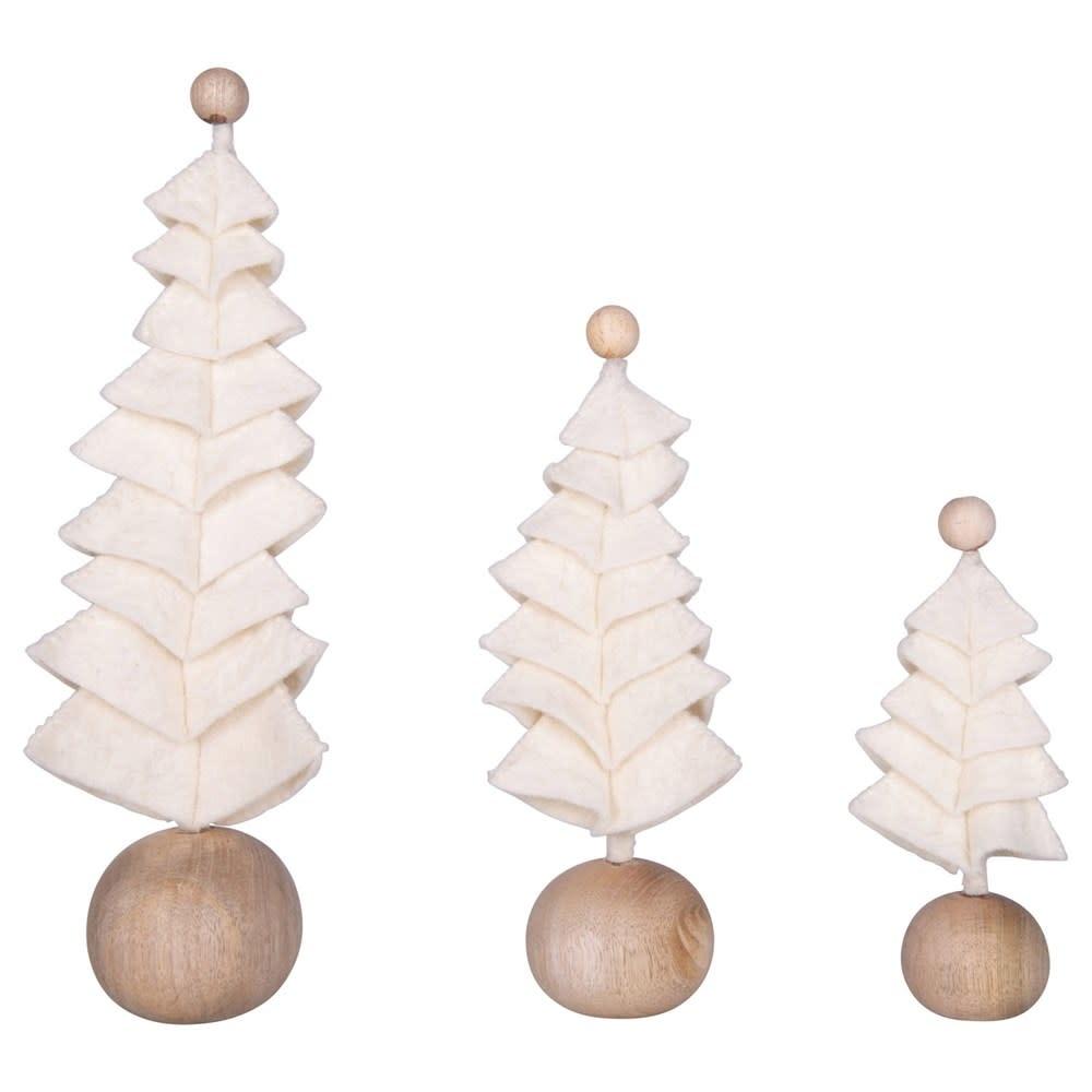 Fleurish Home Medium Cream Color Wool Felt Tree on Wood Ball Base