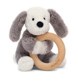 Jellycat Smudge Puppy Wooden Ring Rattle