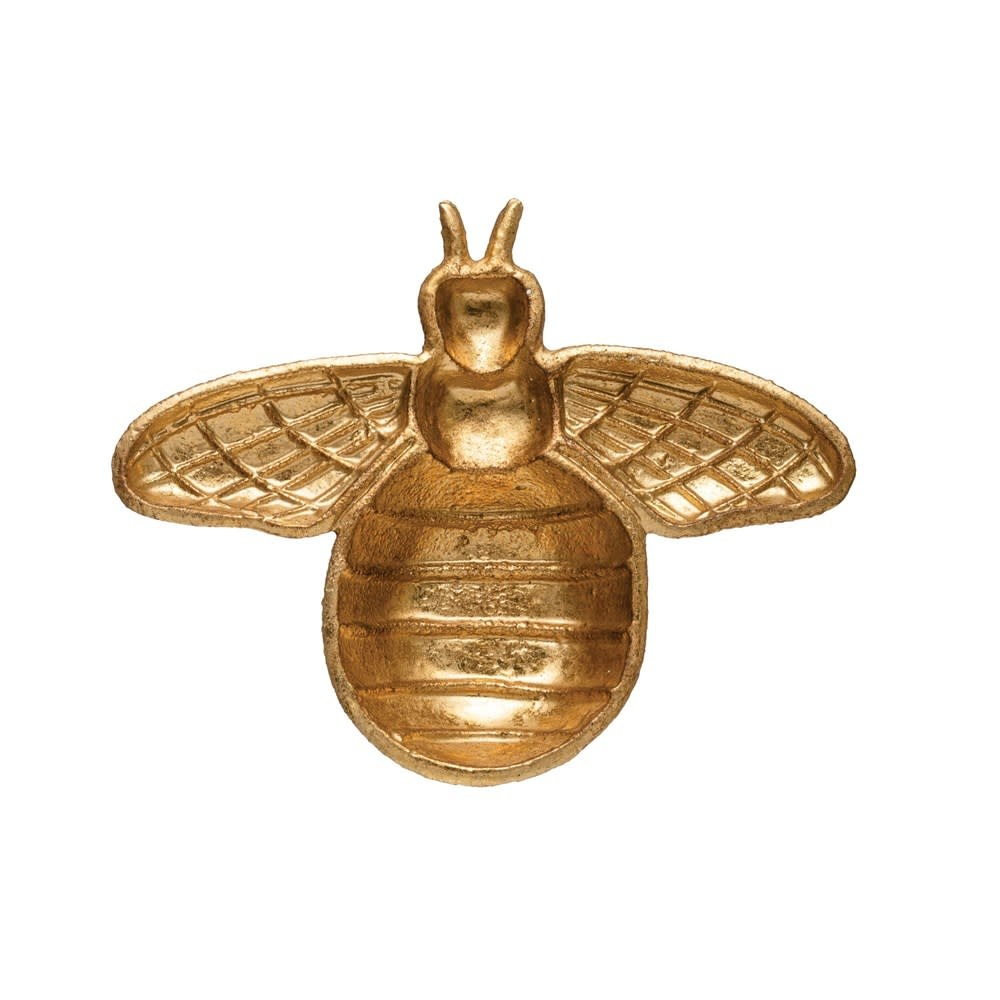 Fleurish Home Gold Finish Cast Iron Bee Dish