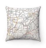 Fleurish Home Cincinnati Suburbs Vintage Map Pillow (Loveland, Indian Hill, Montgomery, etc)