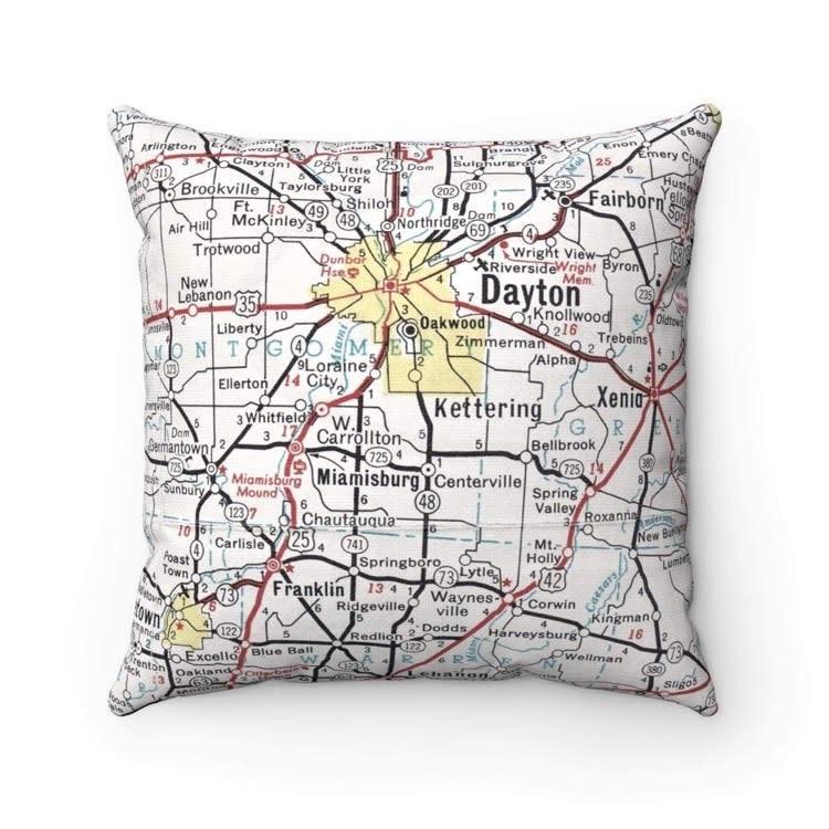 Fleurish Home Dayton Ohio + Suburbs Vintage Map Pillow