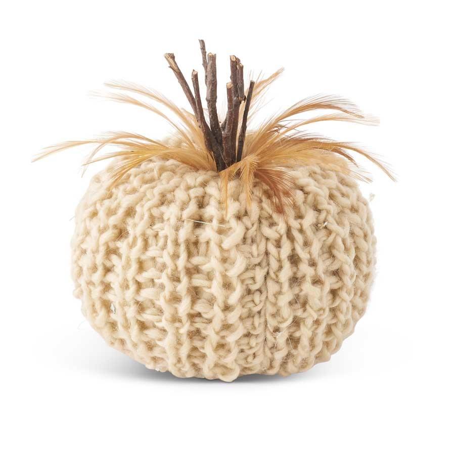 Fleurish Home Crochet Pumpkin w Wood Stem & Feathers