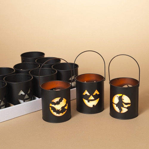 "Fleurish Home Halloween Luminary w/ 3""H Candle & Timer(choice of 3 styles)"
