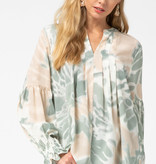 Fleurish Home Sage Luxe Tie Dye Blouse *LAST CHANCE