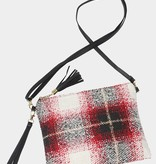 Fleurish Home Red Nubby Plaid Crossbody / Clutch Bag