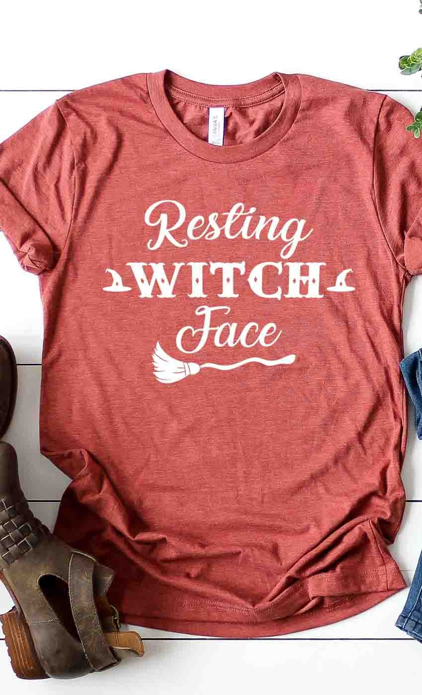 Fleurish Home Resting Witch Face Graphic Tee (Heather Clay)