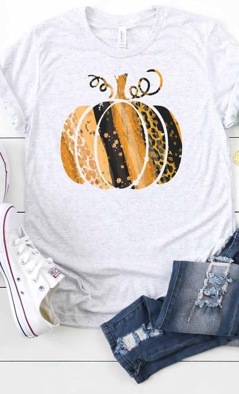 Fleurish Home Gold & Black Stripe Leopard Pumpkin Graphic Tee (Ash Grey)
