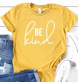 Fleurish Home Be Kind Graphic Tee (Heather Mustard)*