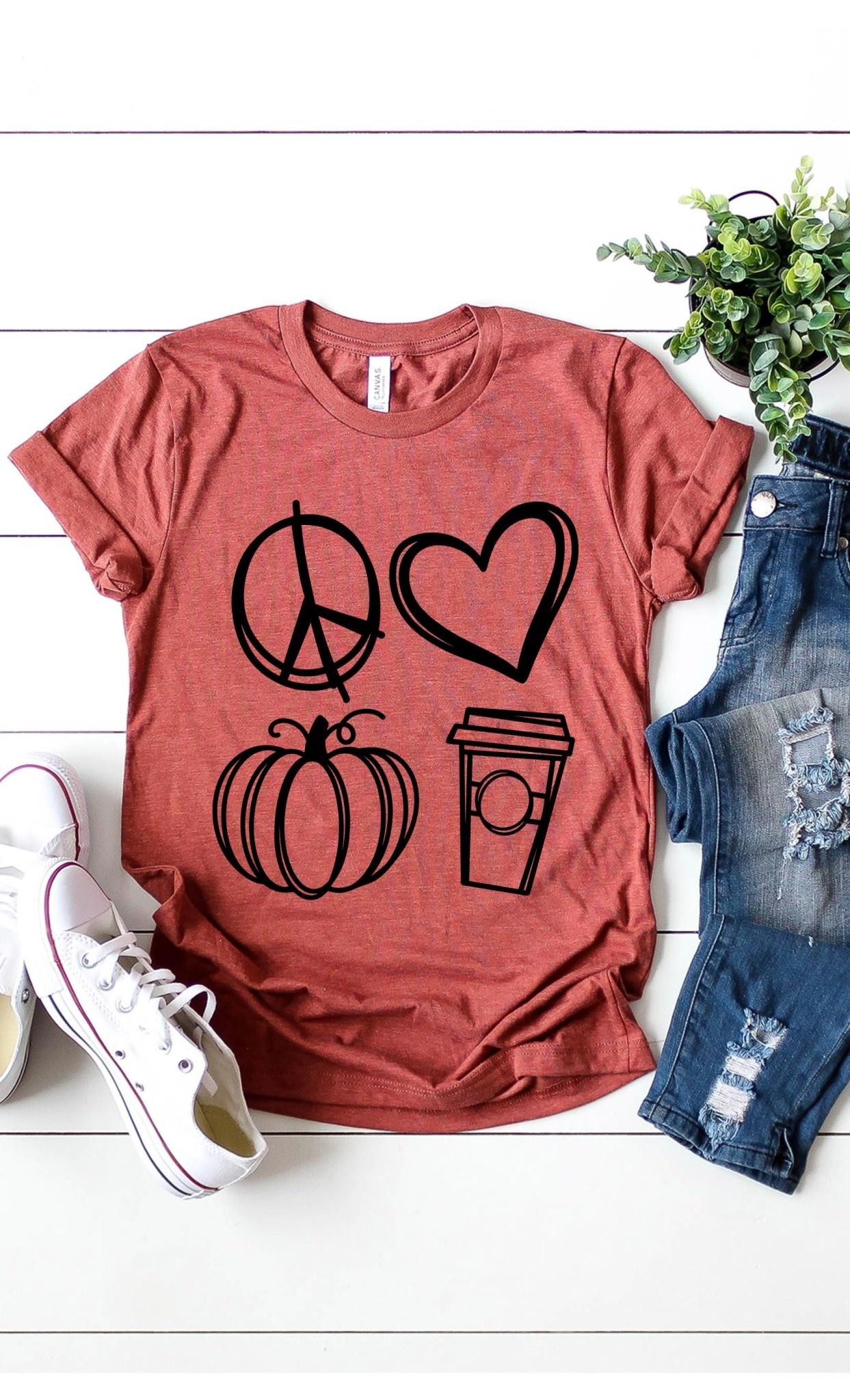 Fleurish Home Peace Love Pumpkin Spice Graphic Tee (Heather Clay)*