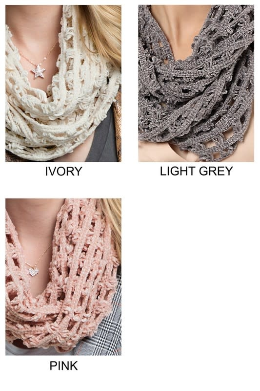 Fleurish Home Knitted Net Chenille Infinity Scarf