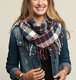 Fleurish Home Casual Plaid Infinity Scarf w Long Fringe