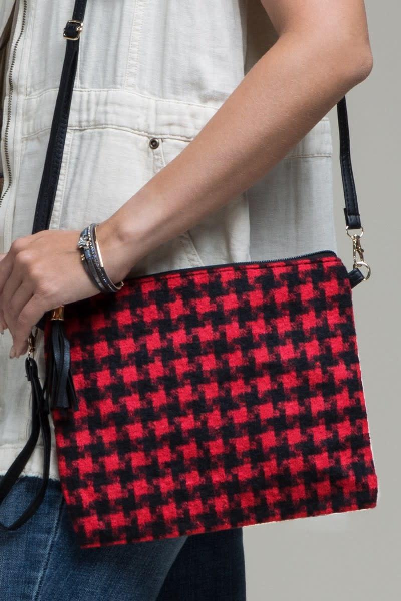 Fleurish Home Houndstooth Plaid Crossbody/ Clutch Bag red