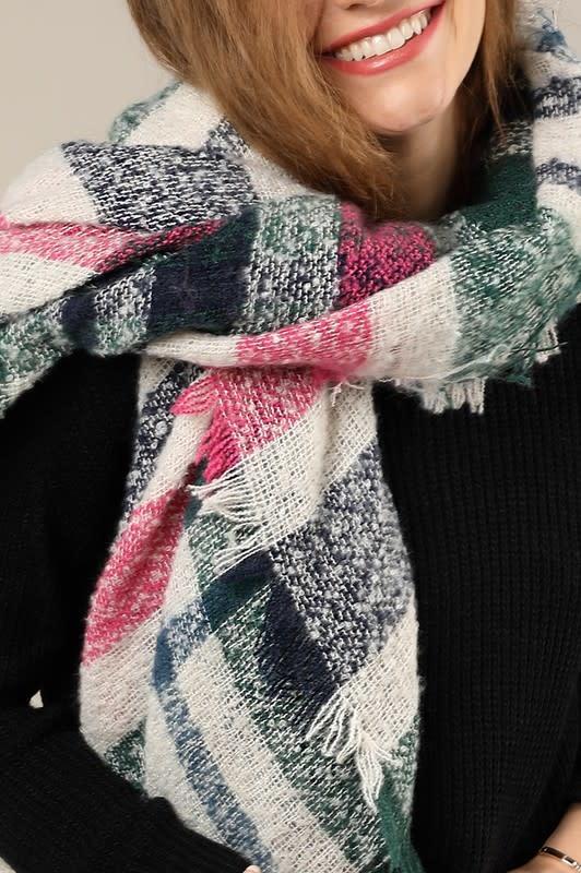Fleurish Home Textured Plaid Blanket Scarf