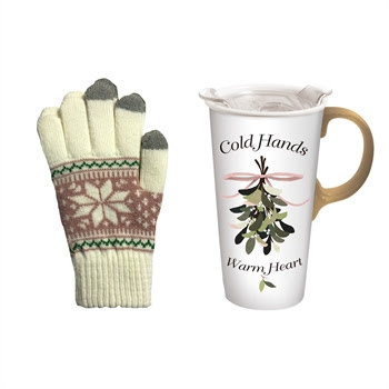 Fleurish Home Cold Hands Warm Heart Travel Mug w Texting Gloves Set