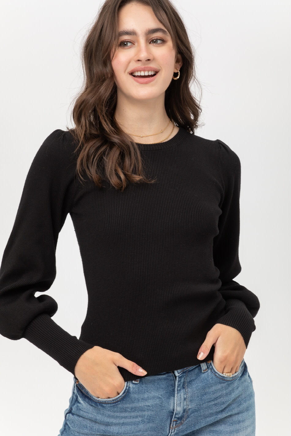Fleurish Home Gathered Shoulder Cropped Sweater