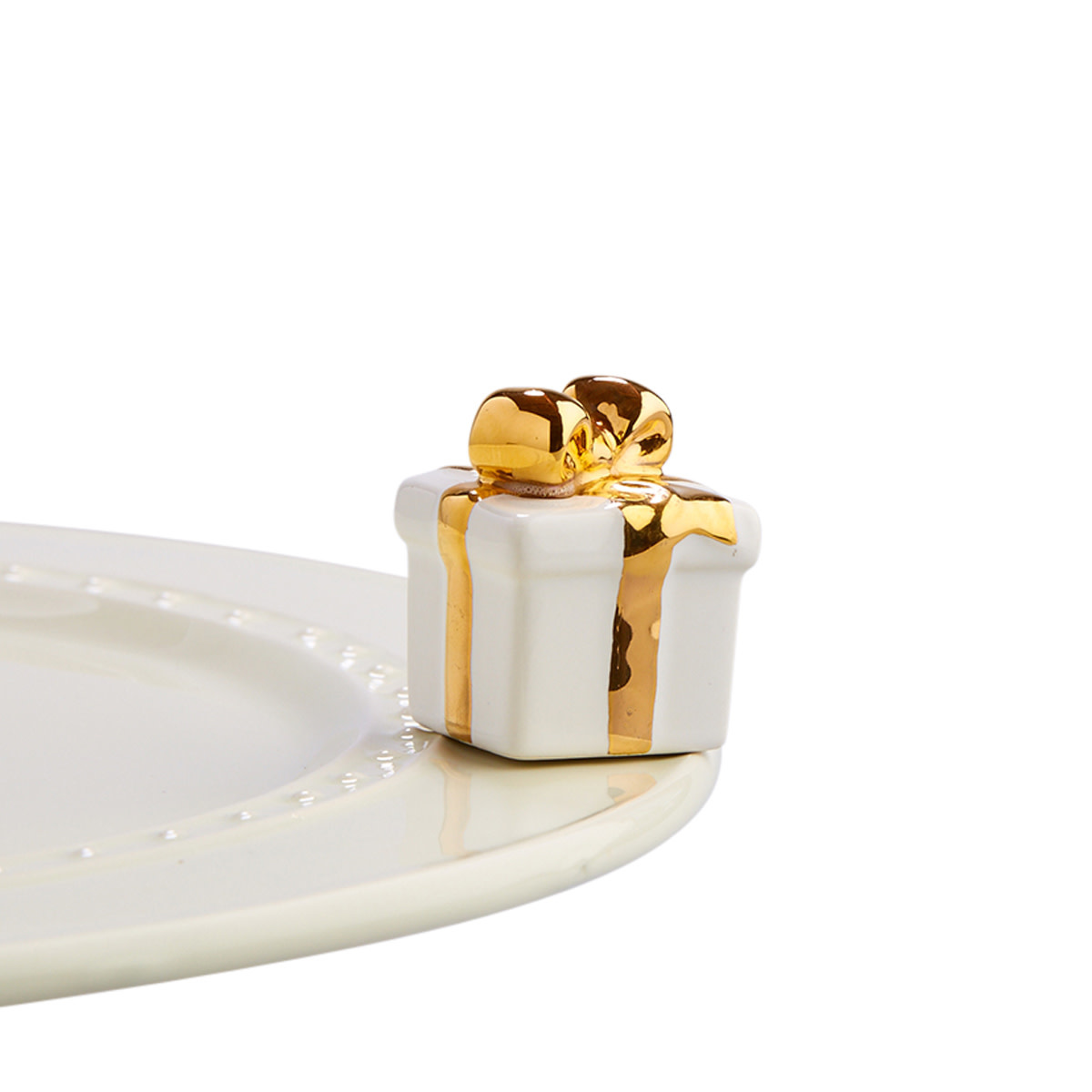 nora fleming golden wishes mini (white gift with gold bow)